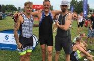 TUBLID MEHED! Rokkar Tanel Padar, Kanal 2 reporter Raivo Rimm ja spordikommentaator Kalev Kruus pistsid triatlonil rinda