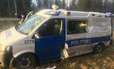 ФОТО и ВИДЕО: На шоссе Таллинн-Пярну столкнулись полицейская машина и грузовик, пострадал полицейский