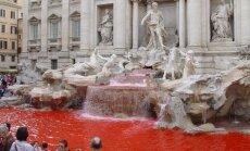 В Риме вандал покрасил в красный цвет воду в знаменитом фонтане Треви