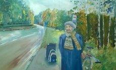 Saare-vanaema on Kaja Lijuri tehtud maalil 92aastane, saatmas Toolamaa bussipeatuses külalist.