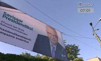 FOTO: Savisaar alustas presidendikampaaniat suure plakatiga Tõnismäel, millel ilutseb ka kirjaviga