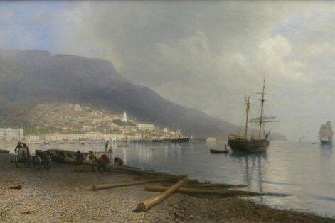 """Teos näituselt """"Narva Metseenid. Lavretsovide kunstikogu"""" Leo Lagorio (1826–1905) Jalta vaade. 1893 Õli, lõuend."""