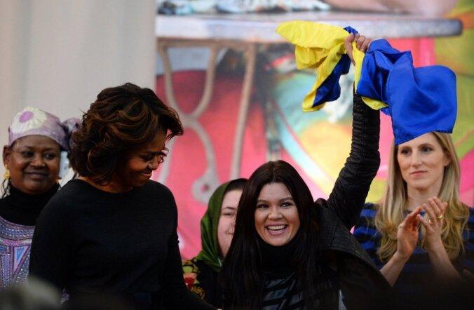 Ruslana Lyzhychko võtmas vastu International Women of Courage 2014 preemiat